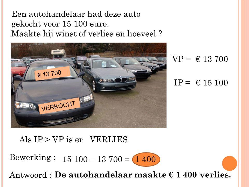 Een autohandelaar had deze auto gekocht voor 15 100 euro.