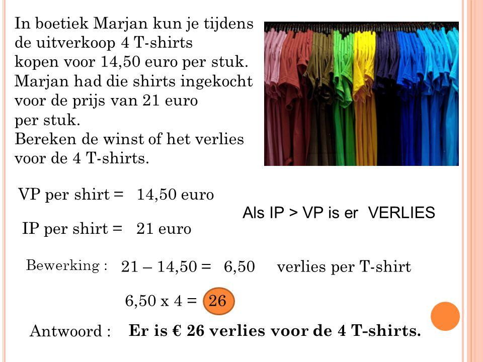 In boetiek Marjan kun je tijdens de uitverkoop 4 T-shirts