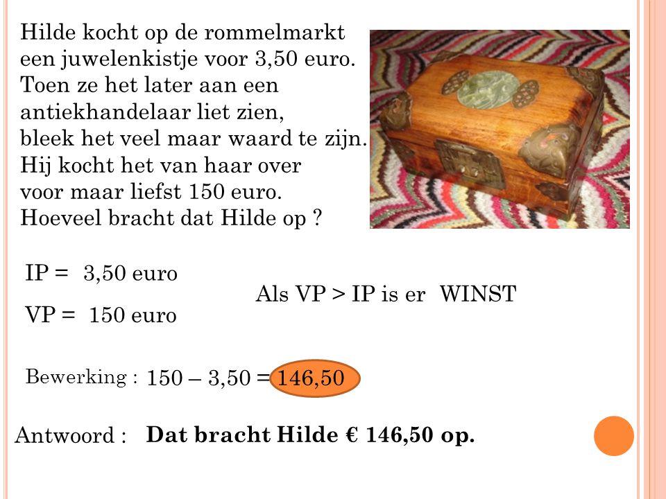 Hilde kocht op de rommelmarkt een juwelenkistje voor 3,50 euro.