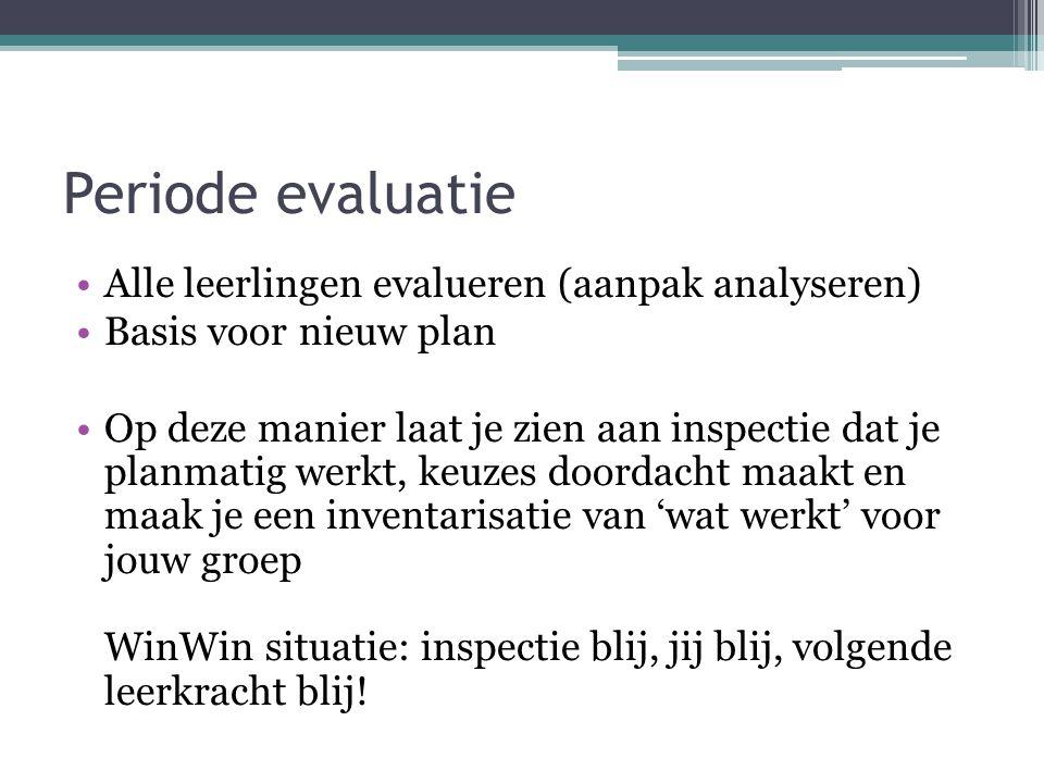 Periode evaluatie Alle leerlingen evalueren (aanpak analyseren)