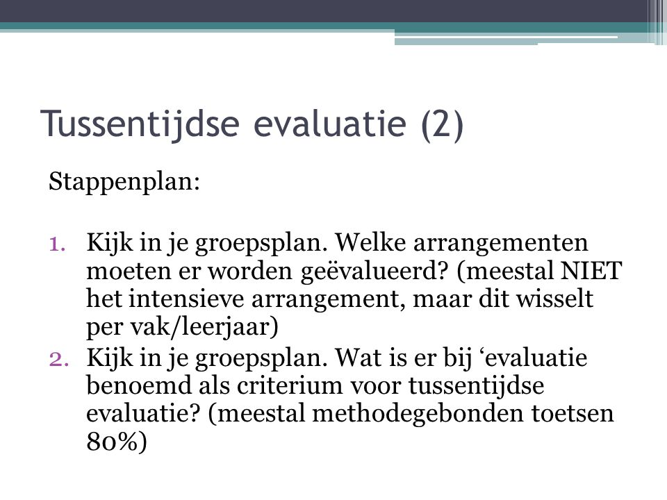 Tussentijdse evaluatie (2)