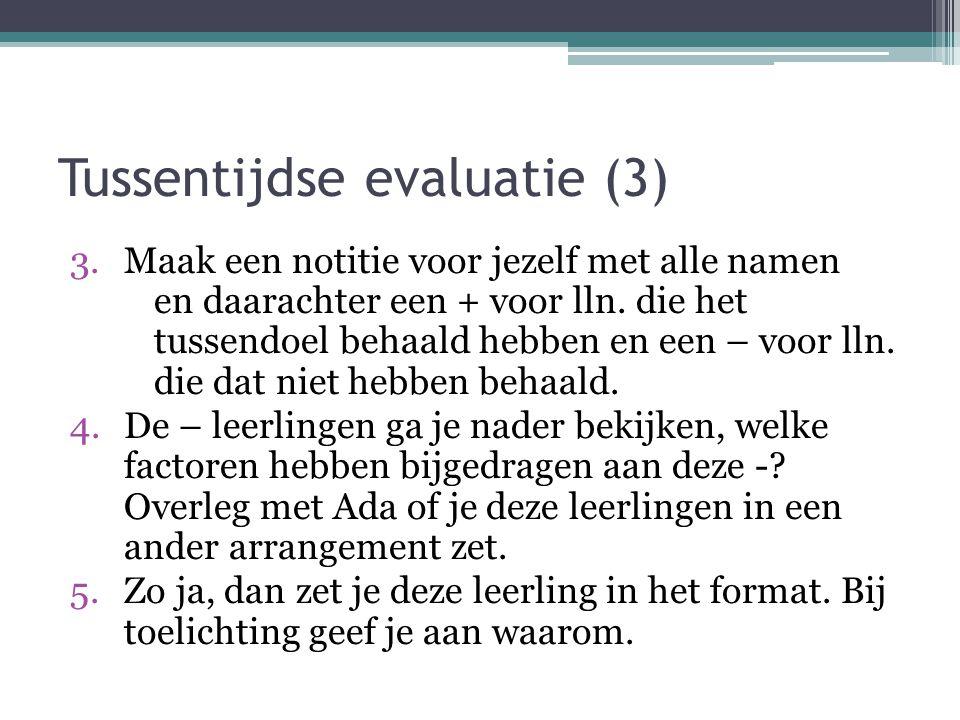 Tussentijdse evaluatie (3)