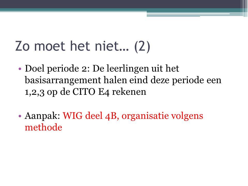 Zo moet het niet… (2) Doel periode 2: De leerlingen uit het basisarrangement halen eind deze periode een 1,2,3 op de CITO E4 rekenen.