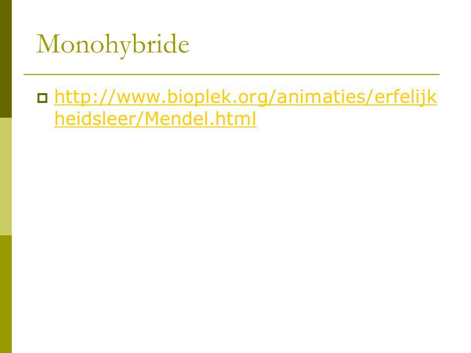 Monohybride http://www.bioplek.org/animaties/erfelijkheidsleer/Mendel.html