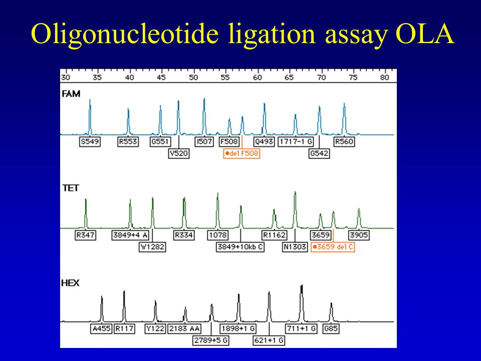 Oligonucleotide ligation assay OLA