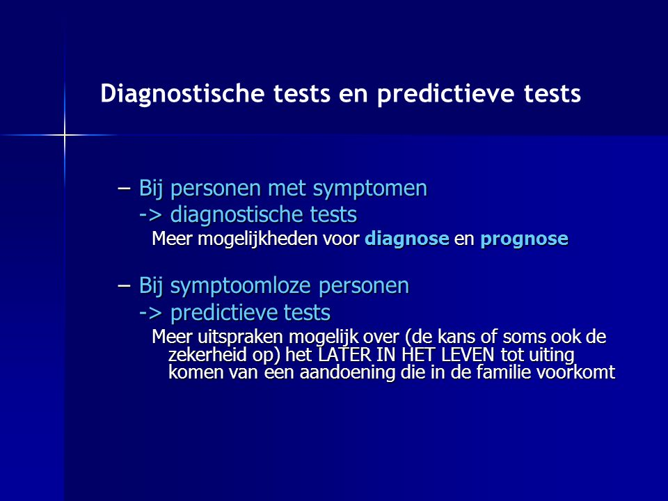 Diagnostische tests en predictieve tests