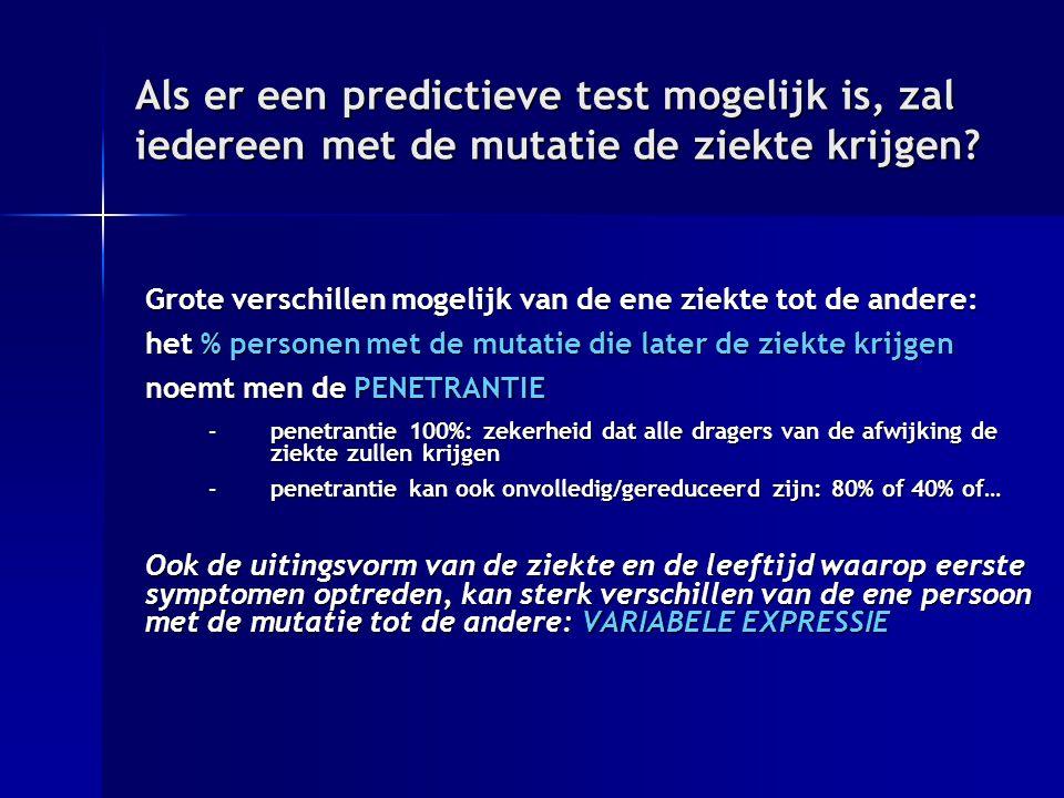 Als er een predictieve test mogelijk is, zal iedereen met de mutatie de ziekte krijgen
