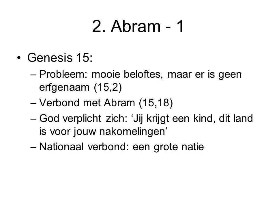 2. Abram - 1 Genesis 15: Probleem: mooie beloftes, maar er is geen erfgenaam (15,2) Verbond met Abram (15,18)
