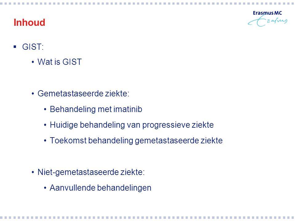 Inhoud GIST: Wat is GIST Gemetastaseerde ziekte: