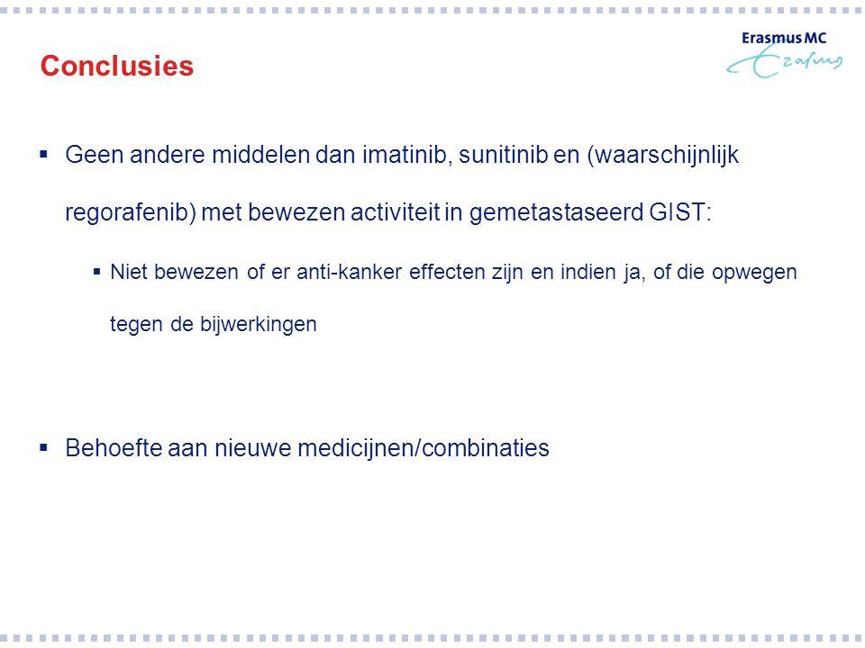 Conclusies Geen andere middelen dan imatinib, sunitinib en (waarschijnlijk regorafenib) met bewezen activiteit in gemetastaseerd GIST: