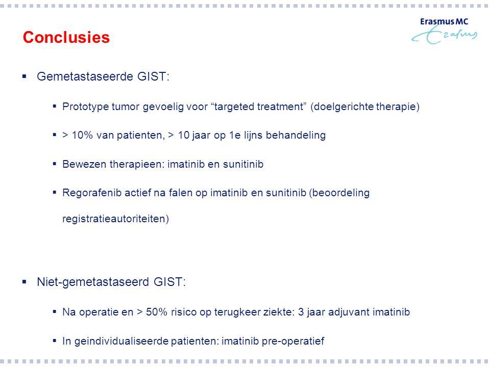 Conclusies Gemetastaseerde GIST: Niet-gemetastaseerd GIST: