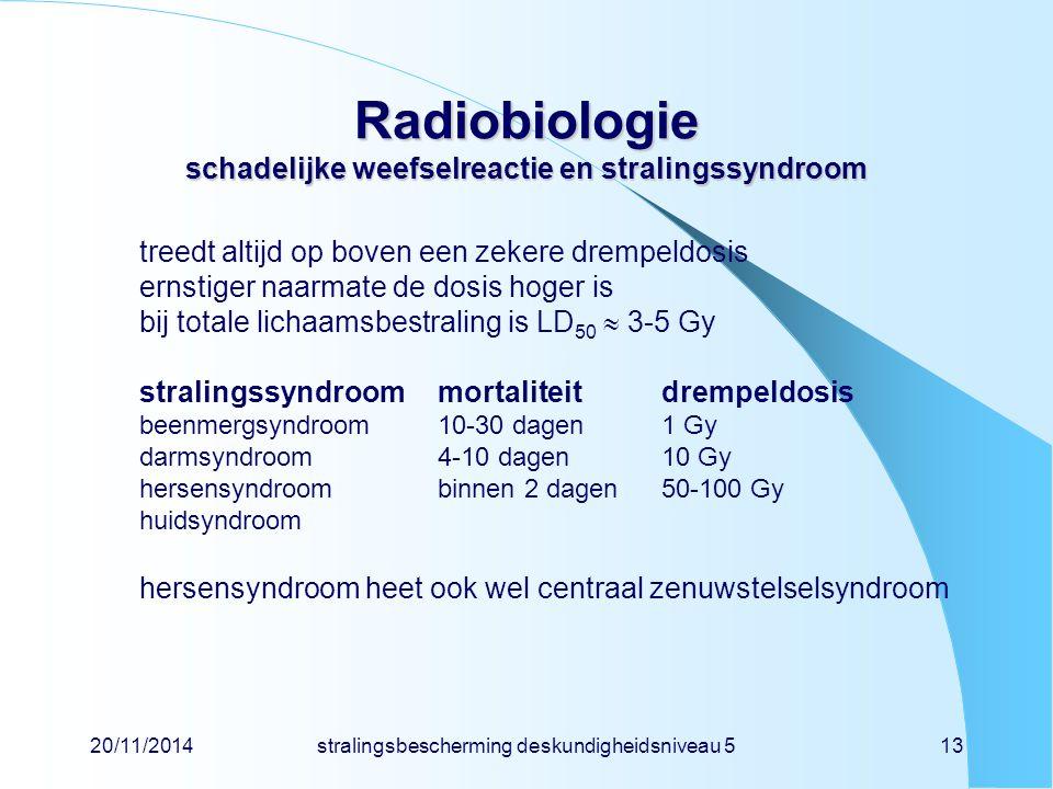 Radiobiologie schadelijke weefselreactie en stralingssyndroom