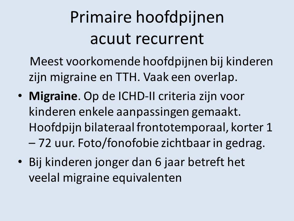 Primaire hoofdpijnen acuut recurrent