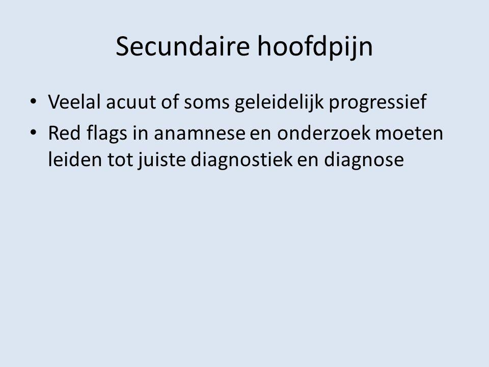 Secundaire hoofdpijn Veelal acuut of soms geleidelijk progressief