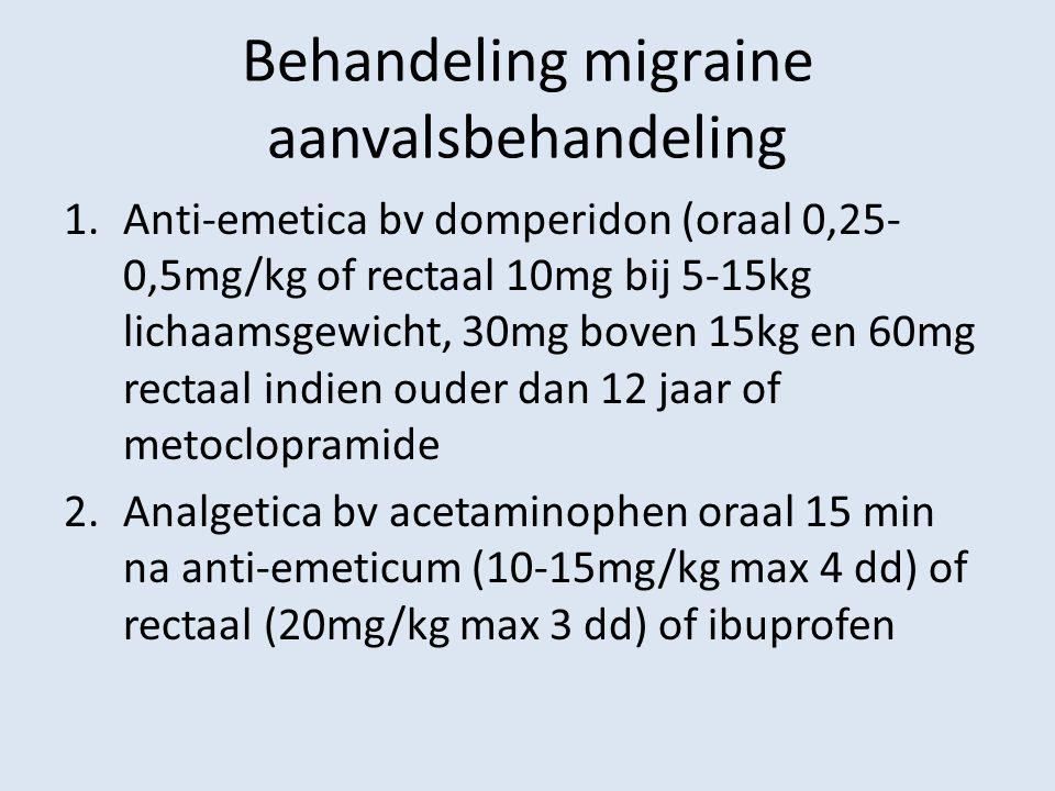 Behandeling migraine aanvalsbehandeling