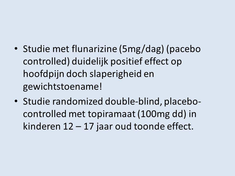 Studie met flunarizine (5mg/dag) (pacebo controlled) duidelijk positief effect op hoofdpijn doch slaperigheid en gewichtstoename!