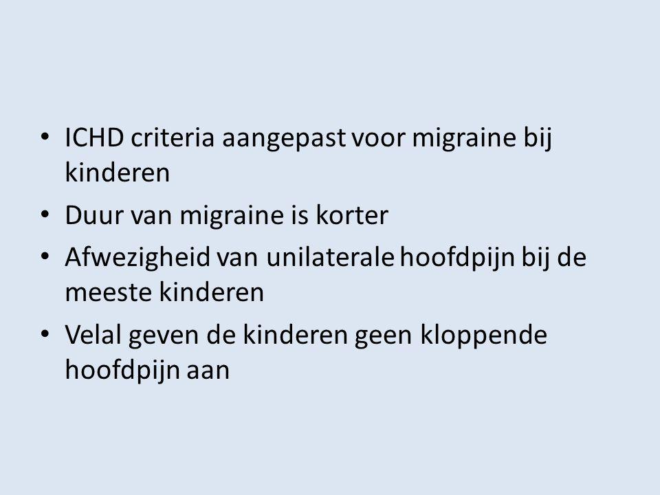 ICHD criteria aangepast voor migraine bij kinderen