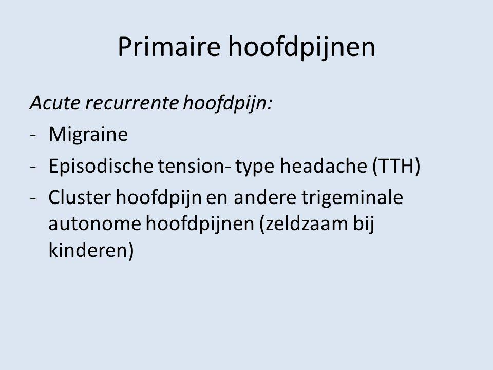 Primaire hoofdpijnen Acute recurrente hoofdpijn: Migraine