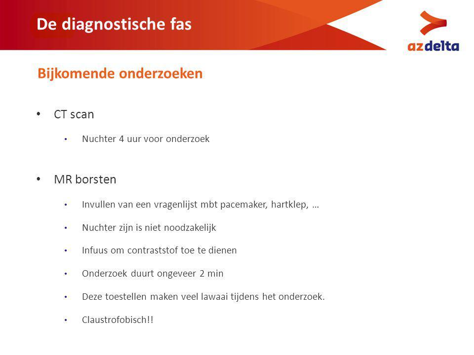 De diagnostische fas Bijkomende onderzoeken CT scan MR borsten