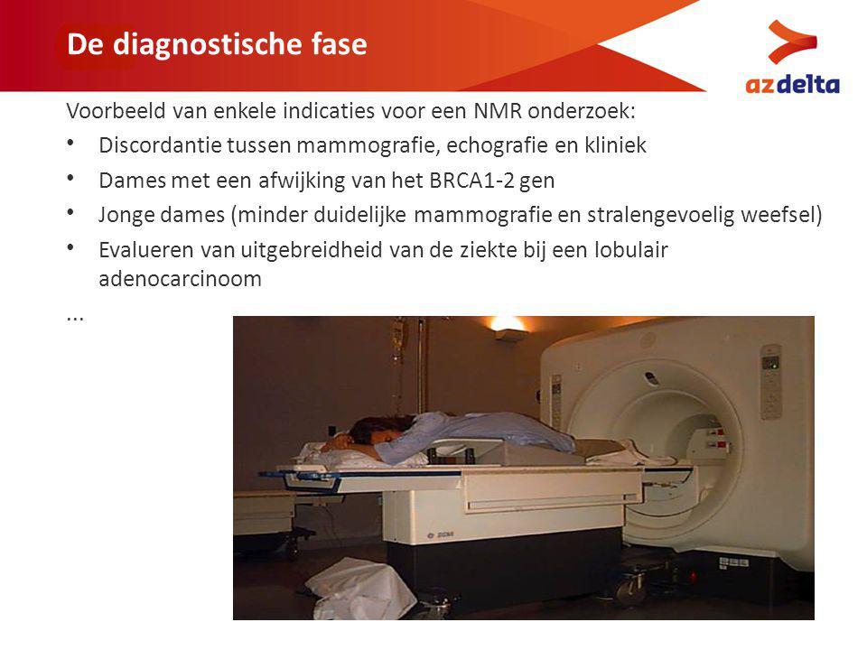 De diagnostische fase Voorbeeld van enkele indicaties voor een NMR onderzoek: Discordantie tussen mammografie, echografie en kliniek.