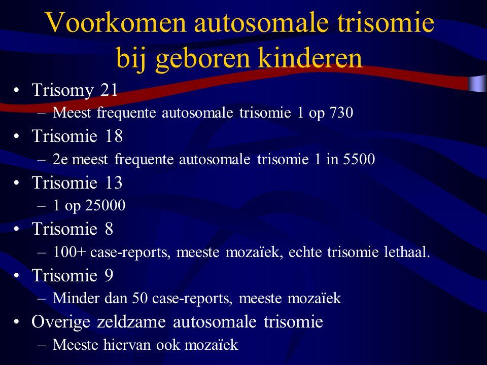 Voorkomen autosomale trisomie bij geboren kinderen