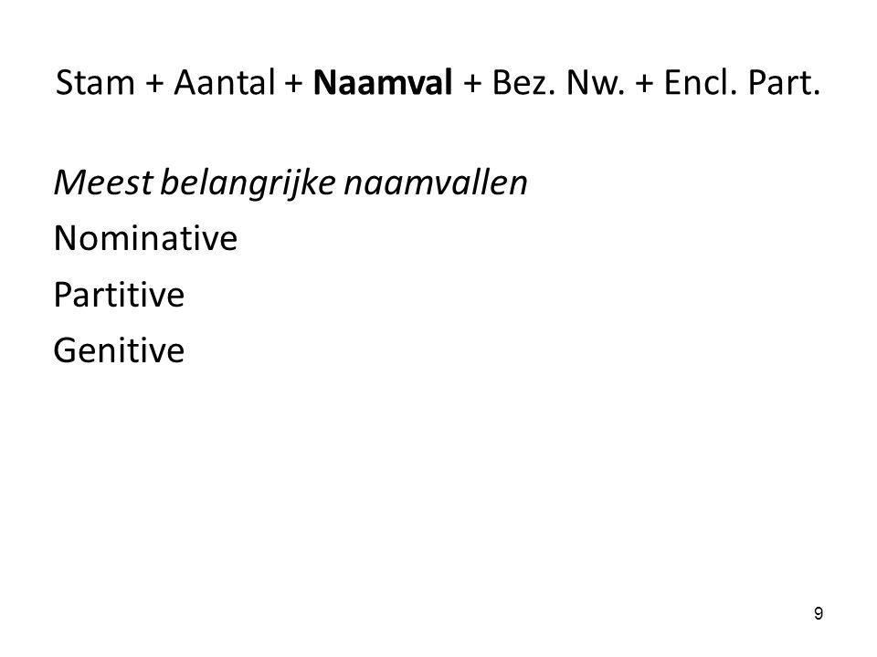 Stam + Aantal + Naamval + Bez. Nw. + Encl. Part.