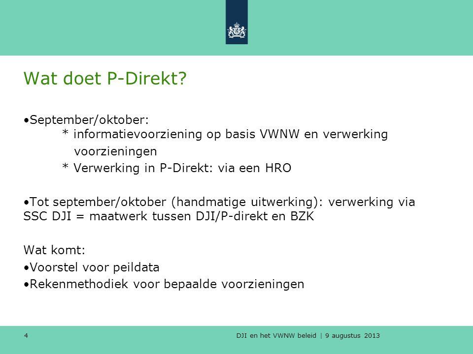 Wat doet P-Direkt September/oktober: * informatievoorziening op basis VWNW en verwerking. voorzieningen.