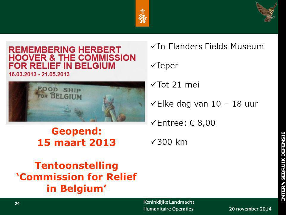 Tentoonstelling 'Commission for Relief in Belgium'