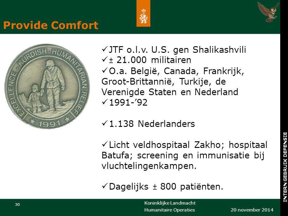 Provide Comfort JTF o.l.v. U.S. gen Shalikashvili ± 21.000 militairen