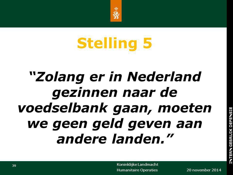 Stelling 5 Zolang er in Nederland gezinnen naar de voedselbank gaan, moeten we geen geld geven aan andere landen.