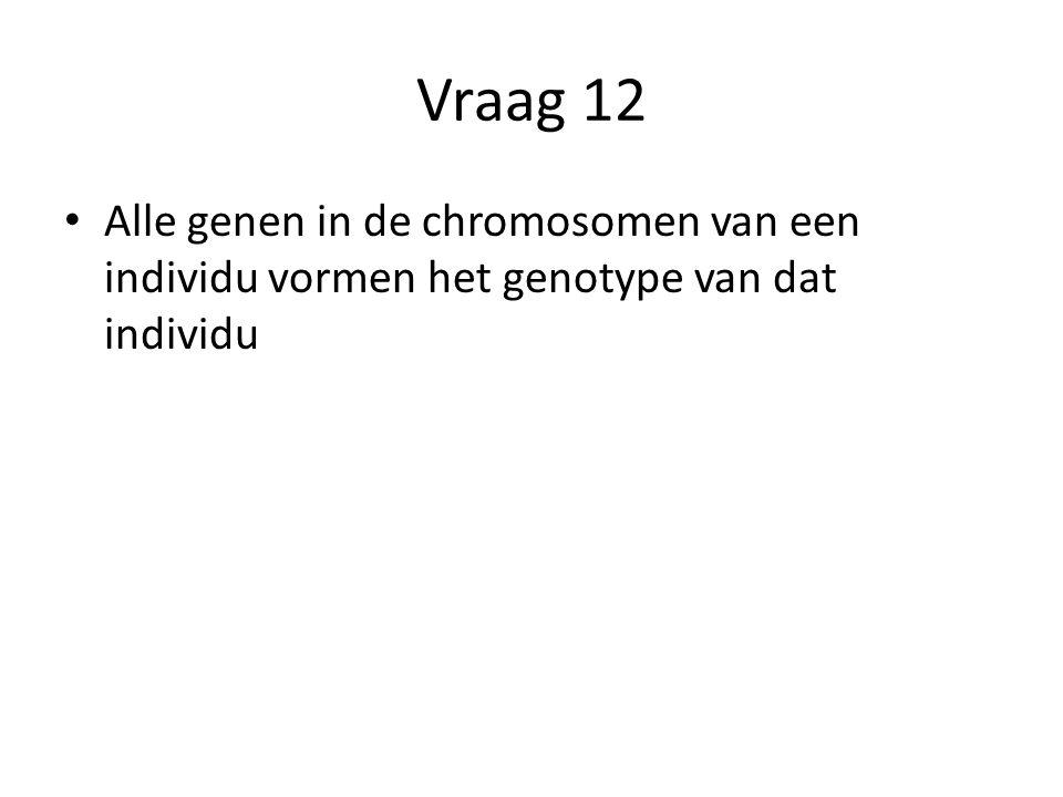 Vraag 12 Alle genen in de chromosomen van een individu vormen het genotype van dat individu