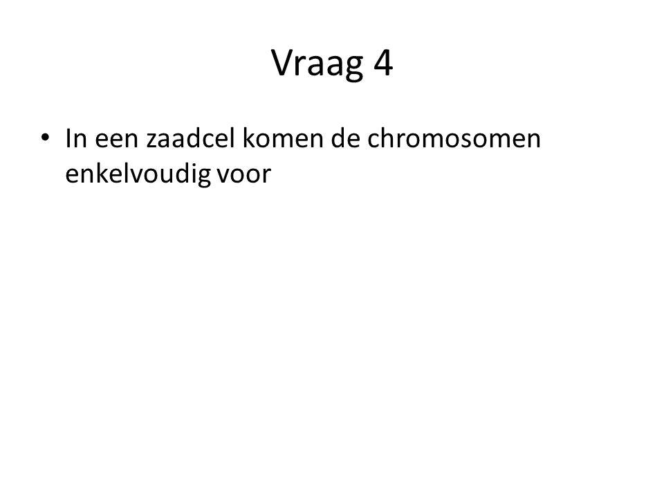 Vraag 4 In een zaadcel komen de chromosomen enkelvoudig voor