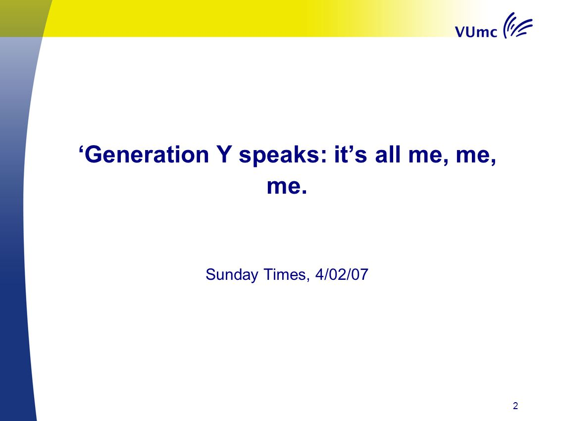 'Generation Y speaks: it's all me, me, me.