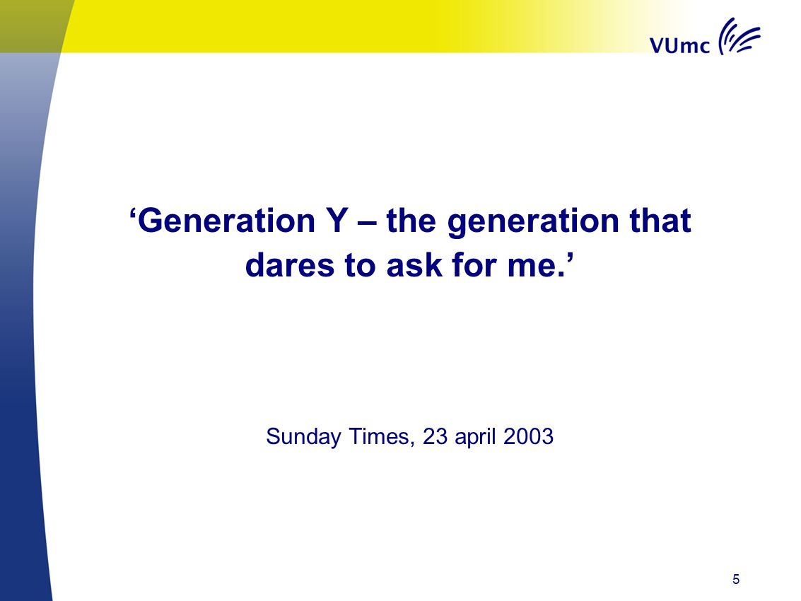 'Generation Y – the generation that dares to ask for me.'