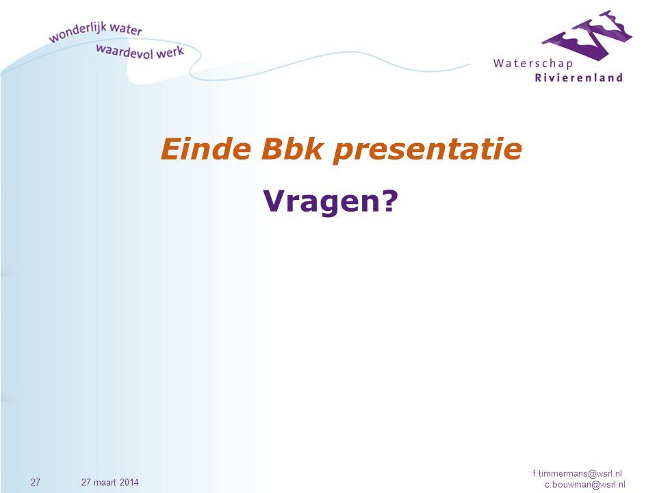 Einde Bbk presentatie Vragen