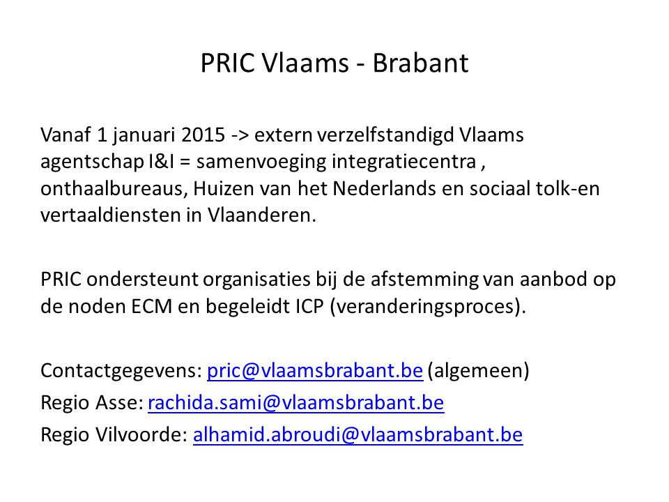 PRIC Vlaams - Brabant