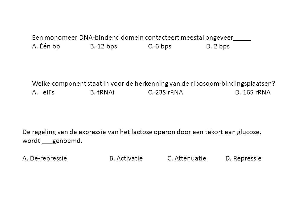 Een monomeer DNA-bindend domein contacteert meestal ongeveer_____