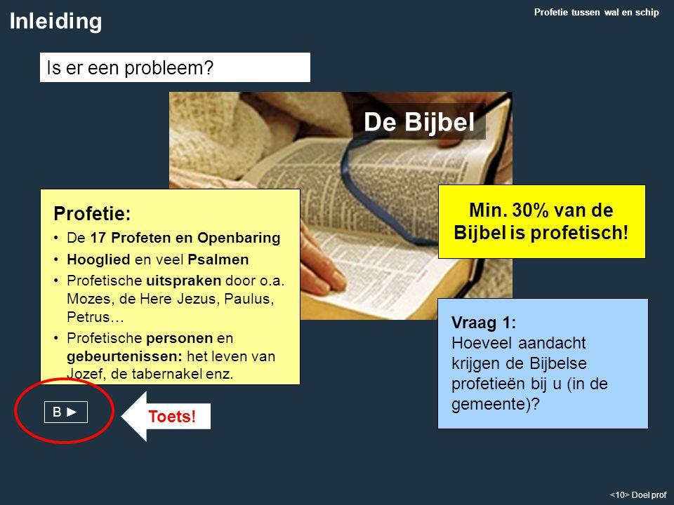 Min. 30% van de Bijbel is profetisch!