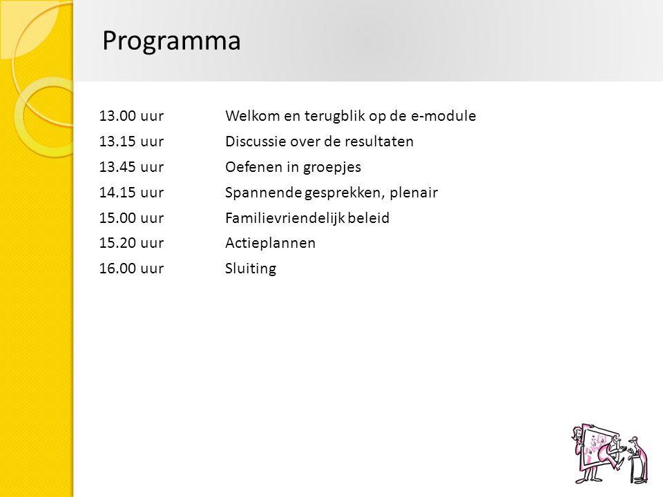 Programma 13.00 uur Welkom en terugblik op de e-module