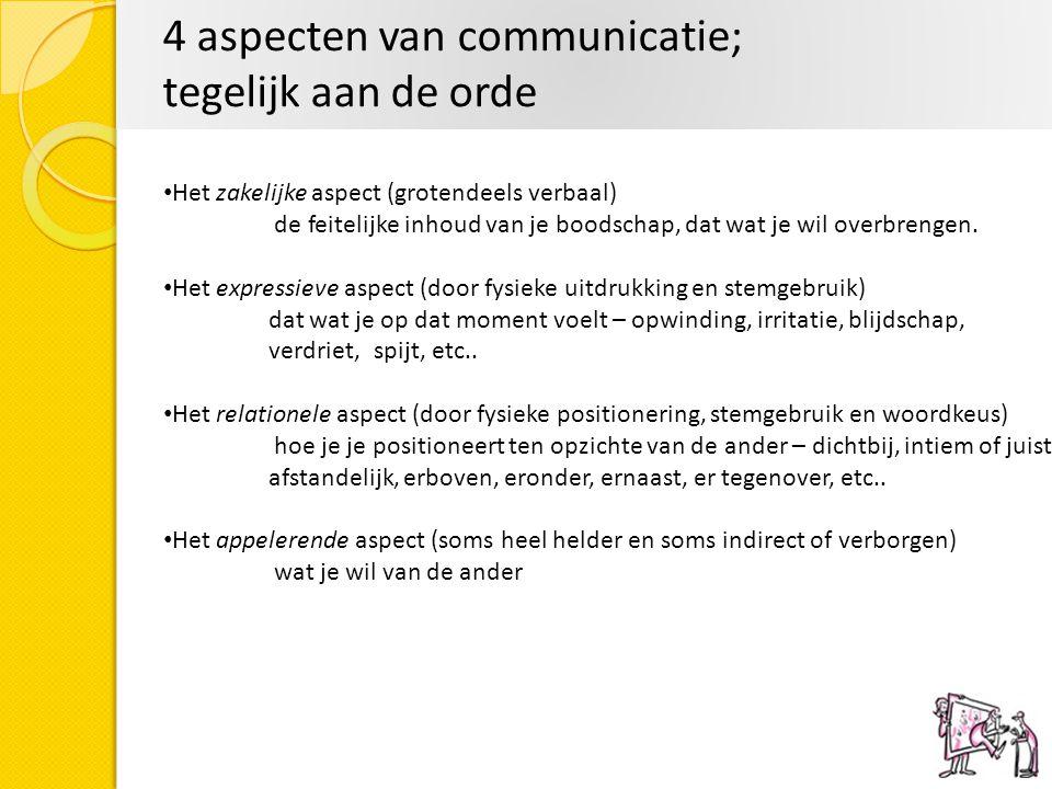4 aspecten van communicatie; tegelijk aan de orde