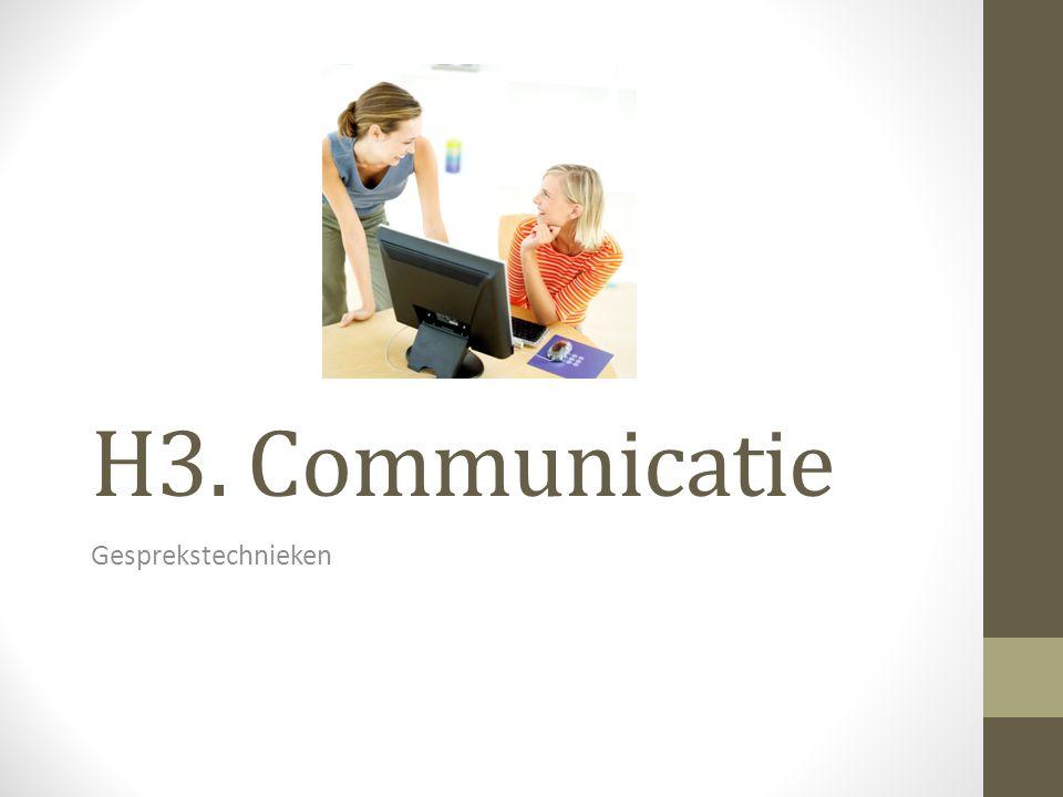 H3. Communicatie Gesprekstechnieken