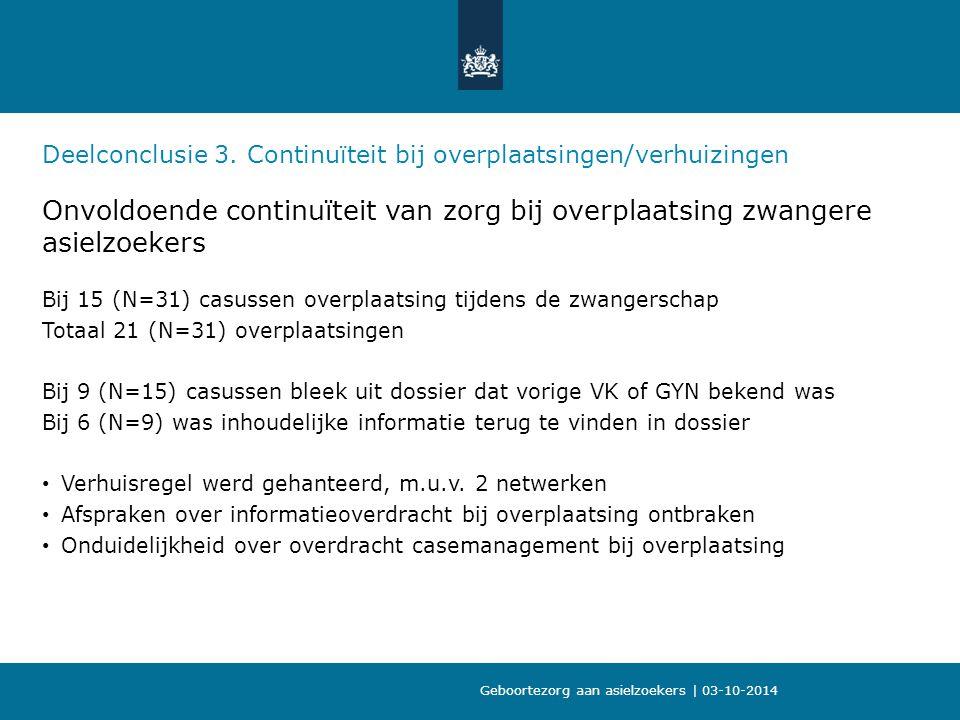 09-10-2013 Deelconclusie 3. Continuïteit bij overplaatsingen/verhuizingen. Onvoldoende continuïteit van zorg bij overplaatsing zwangere asielzoekers.
