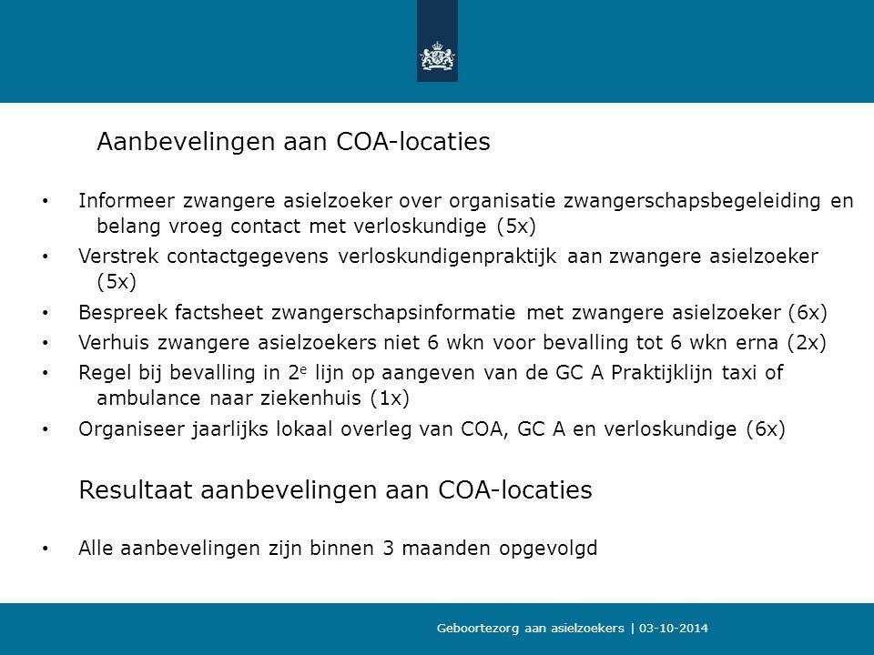 Aanbevelingen aan COA-locaties