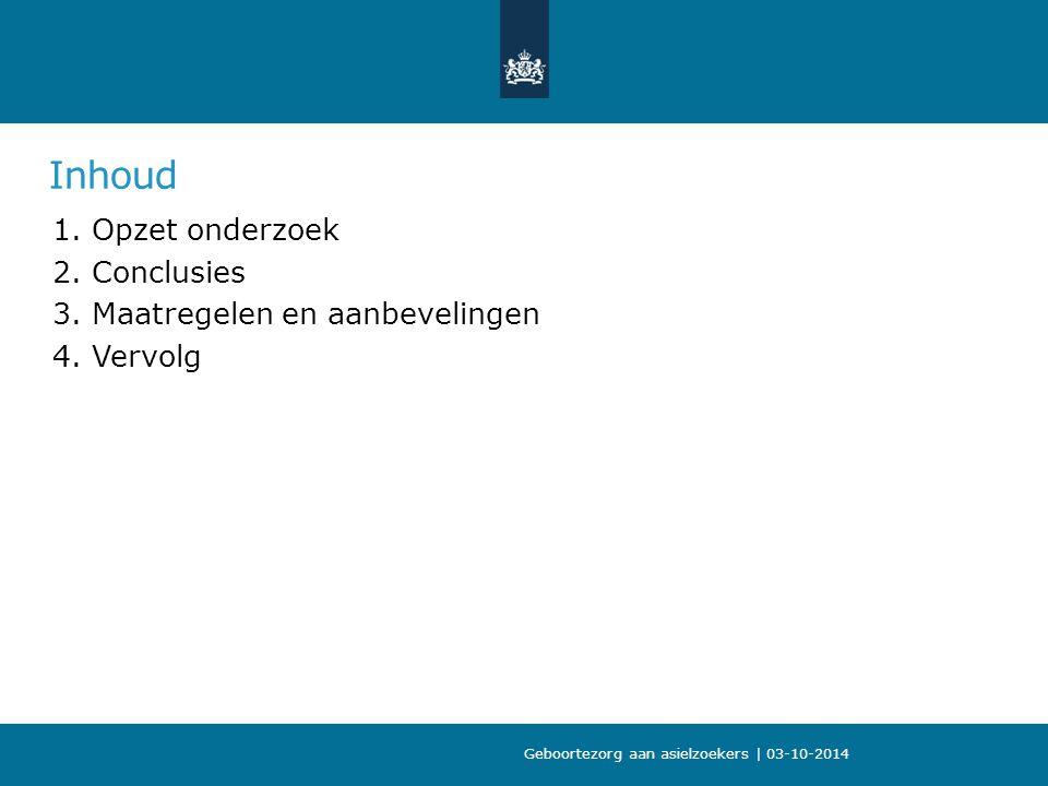 Inhoud Opzet onderzoek Conclusies Maatregelen en aanbevelingen Vervolg