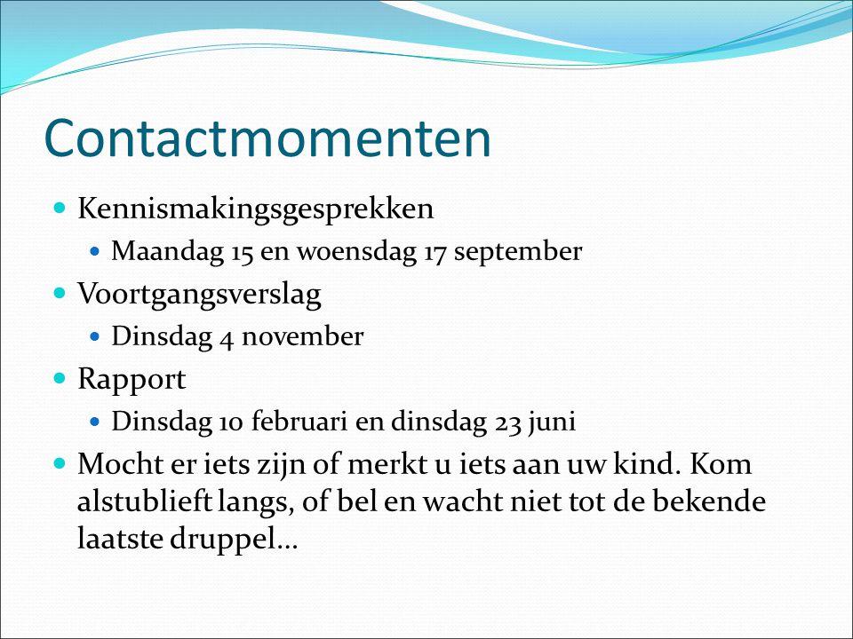 Contactmomenten Kennismakingsgesprekken Voortgangsverslag Rapport
