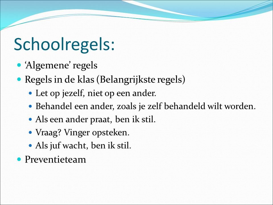 Schoolregels: 'Algemene' regels