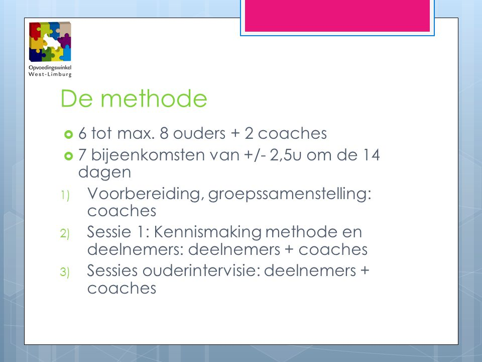 De methode 6 tot max. 8 ouders + 2 coaches