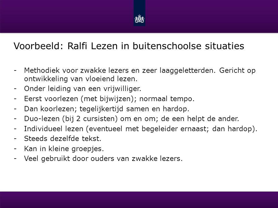 Voorbeeld: Ralfi Lezen in buitenschoolse situaties