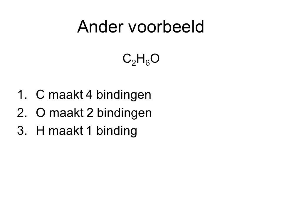 Ander voorbeeld C2H6O C maakt 4 bindingen O maakt 2 bindingen