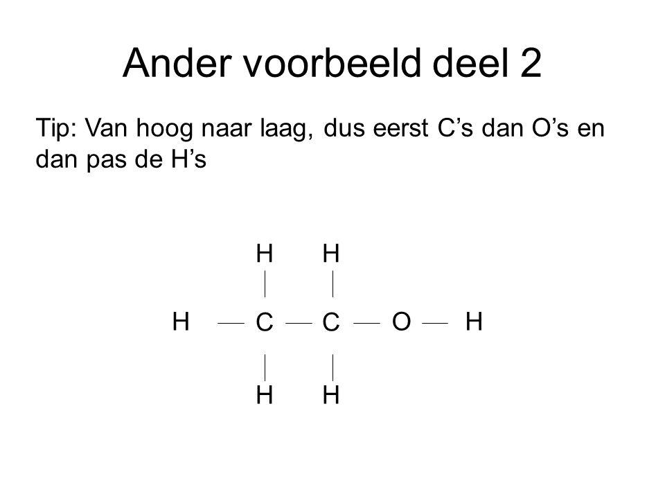 Ander voorbeeld deel 2 Tip: Van hoog naar laag, dus eerst C's dan O's en dan pas de H's. C C. H H.